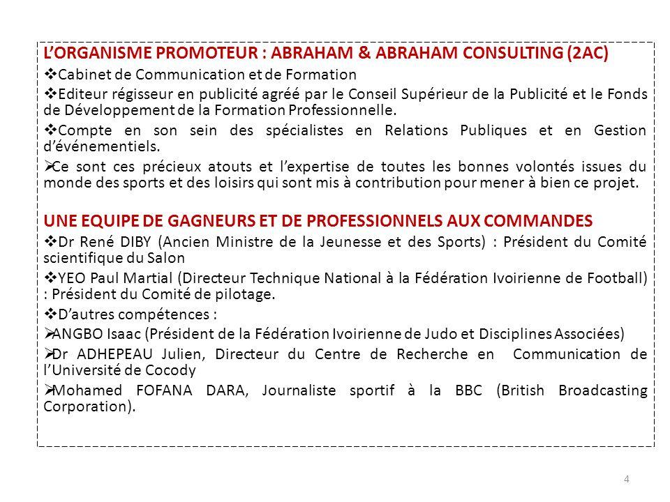 LORGANISME PROMOTEUR : ABRAHAM & ABRAHAM CONSULTING (2AC) Cabinet de Communication et de Formation Editeur régisseur en publicité agréé par le Conseil Supérieur de la Publicité et le Fonds de Développement de la Formation Professionnelle.