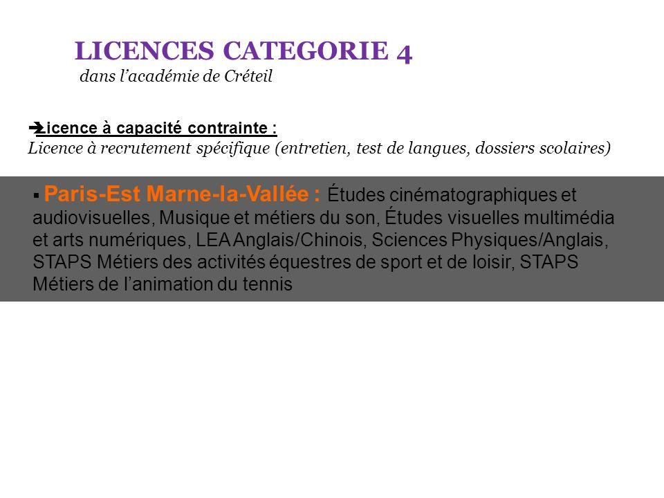 LICENCES CATEGORIE 4 dans lacadémie de Créteil Licence à capacité contrainte : Licence à recrutement spécifique (entretien, test de langues, dossiers