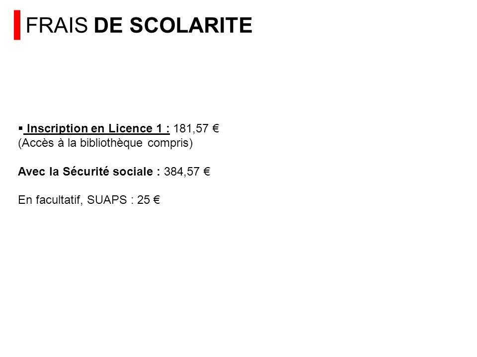 FRAIS DE SCOLARITE Inscription en Licence 1 : 181,57 (Accès à la bibliothèque compris) Avec la Sécurité sociale : 384,57 En facultatif, SUAPS : 25