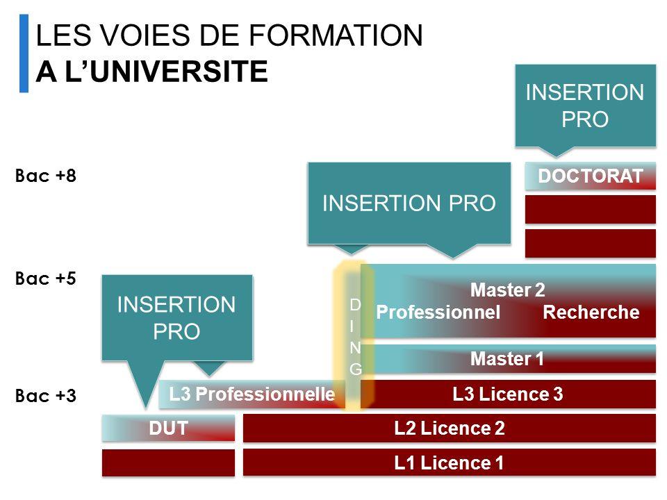INSERTION PRO L1 Licence 1 L2 Licence 2 L3 Licence 3 L3 Professionnelle Master 1 Master 2 ProfessionnelRecherche Master 2 ProfessionnelRecherche DOCTO