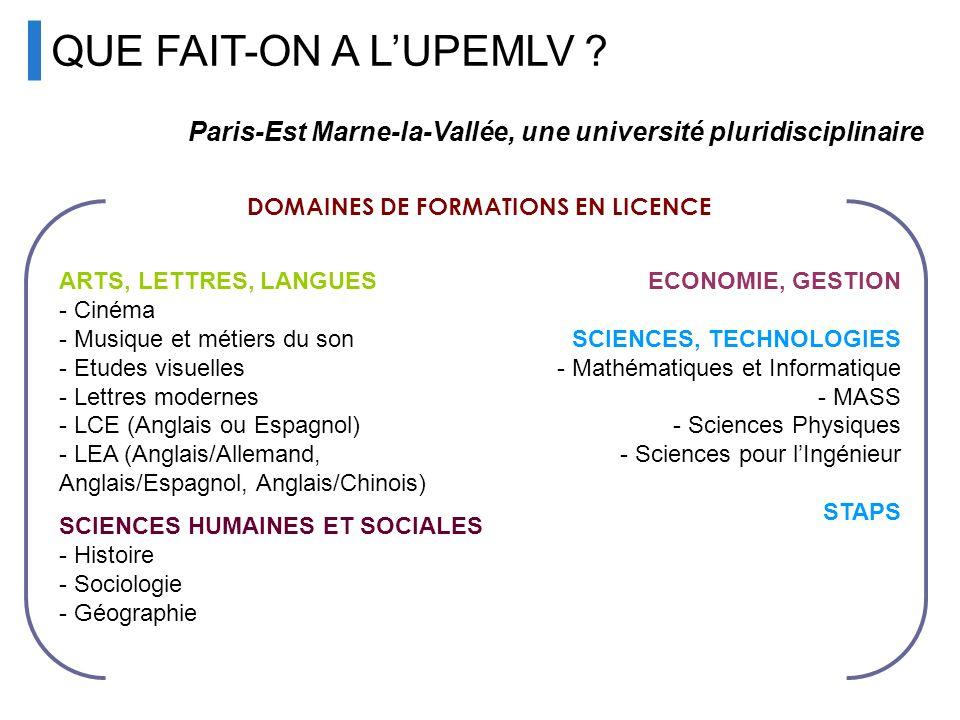QUE FAIT-ON A LUPEMLV ? Paris-Est Marne-la-Vallée, une université pluridisciplinaire DOMAINES DE FORMATIONS EN LICENCE ARTS, LETTRES, LANGUES - Cinéma