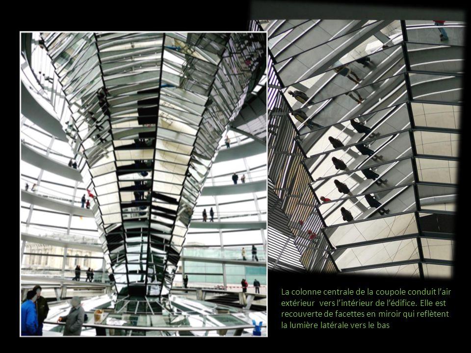 La colonne centrale de la coupole conduit lair extérieur vers lintérieur de lédifice. Elle est recouverte de facettes en miroir qui reflètent la lumiè
