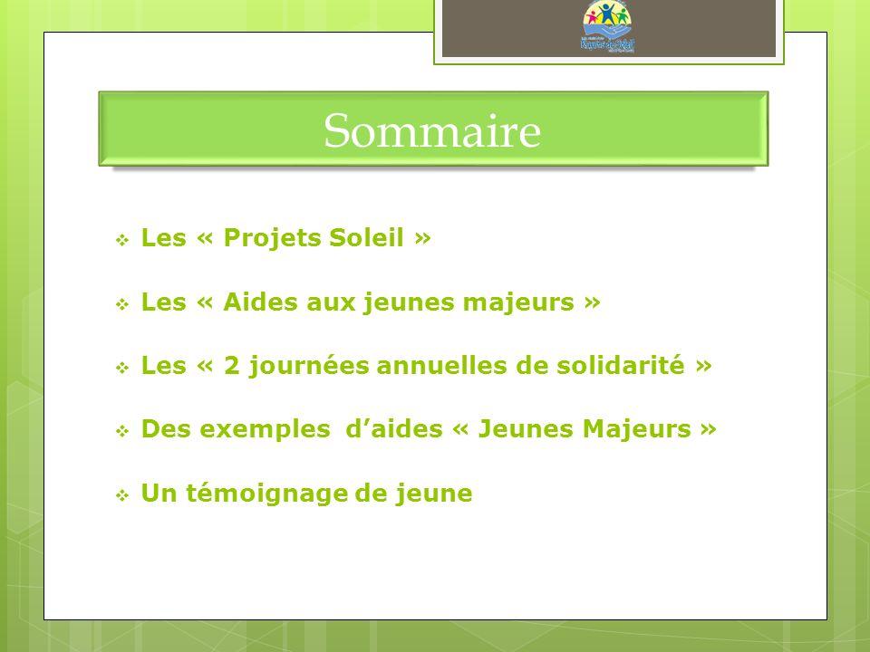 Sommaire Les « Projets Soleil » Les « Aides aux jeunes majeurs » Les « 2 journées annuelles de solidarité » Des exemples daides « Jeunes Majeurs » Un