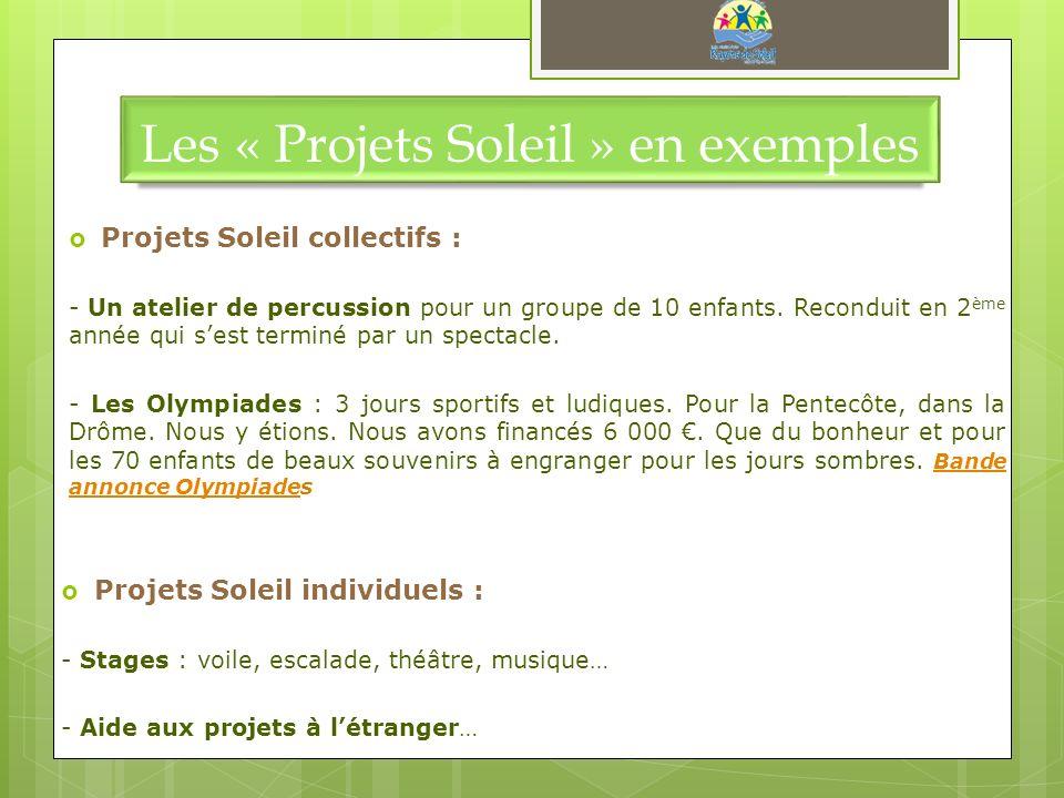 Les « Projets Soleil » en exemples Projets Soleil collectifs : - Un atelier de percussion pour un groupe de 10 enfants. Reconduit en 2 ème année qui s