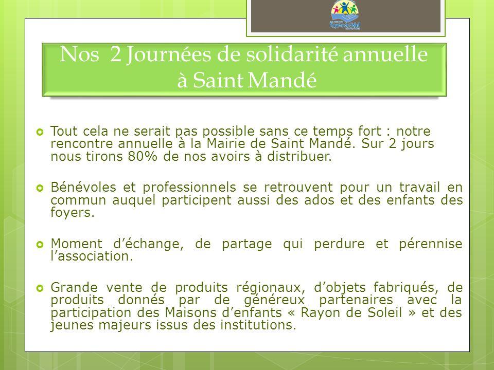 Nos 2 Journées de solidarité annuelle à Saint Mandé Tout cela ne serait pas possible sans ce temps fort : notre rencontre annuelle à la Mairie de Sain