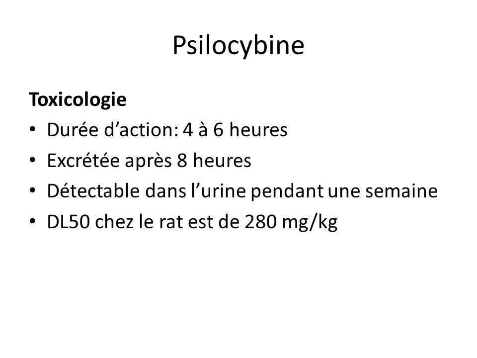 Psilocybine Toxicologie Durée daction: 4 à 6 heures Excrétée après 8 heures Détectable dans lurine pendant une semaine DL50 chez le rat est de 280 mg/