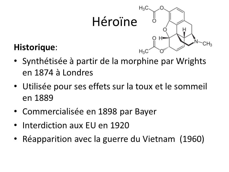 Historique: Synthétisée à partir de la morphine par Wrights en 1874 à Londres Utilisée pour ses effets sur la toux et le sommeil en 1889 Commercialisé