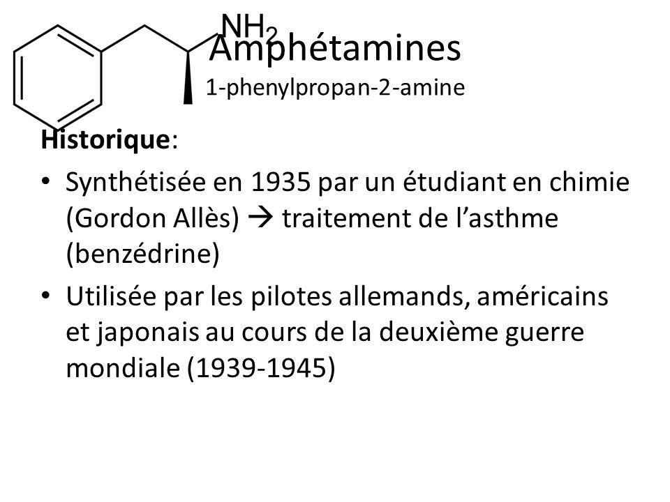 Amphétamines 1-phenylpropan-2-amine Historique: Synthétisée en 1935 par un étudiant en chimie (Gordon Allès) traitement de lasthme (benzédrine) Utilis