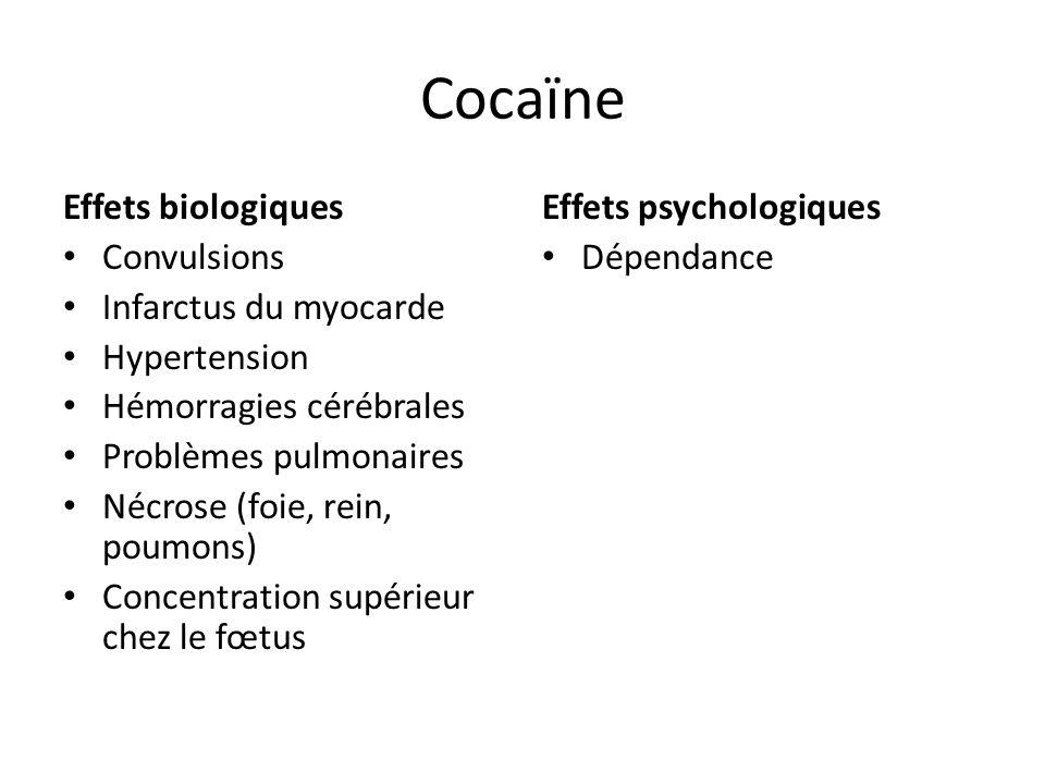 Cocaïne Effets biologiques Convulsions Infarctus du myocarde Hypertension Hémorragies cérébrales Problèmes pulmonaires Nécrose (foie, rein, poumons) C