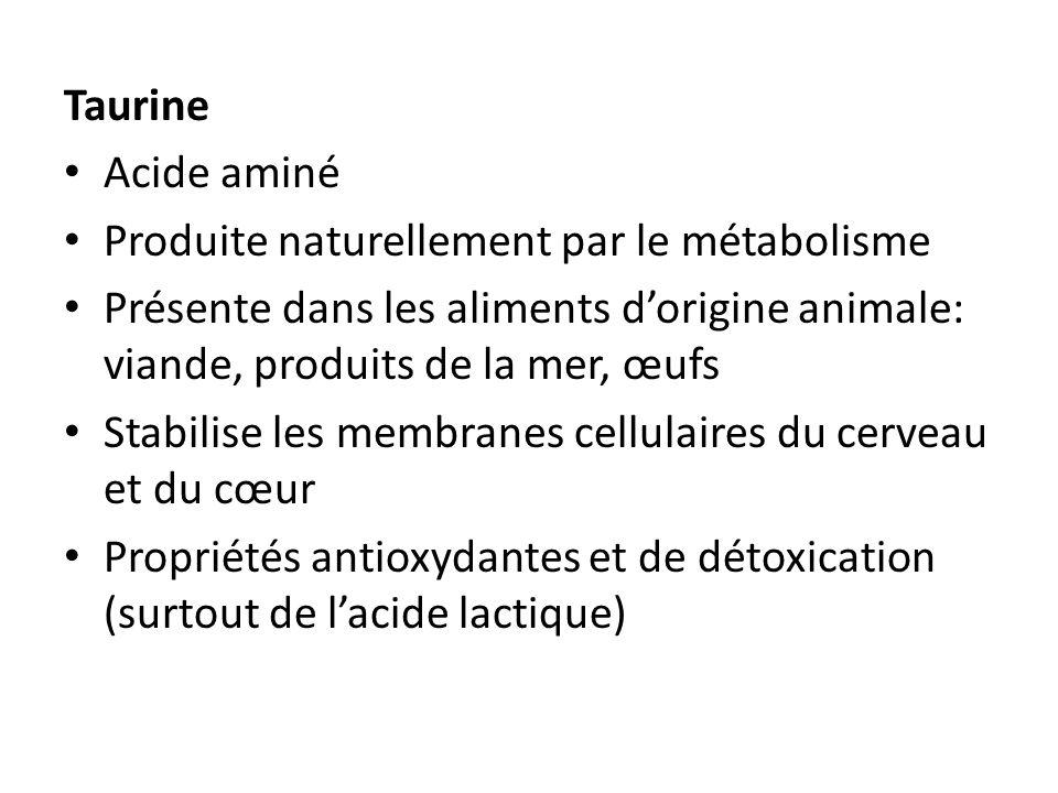 Taurine Acide aminé Produite naturellement par le métabolisme Présente dans les aliments dorigine animale: viande, produits de la mer, œufs Stabilise