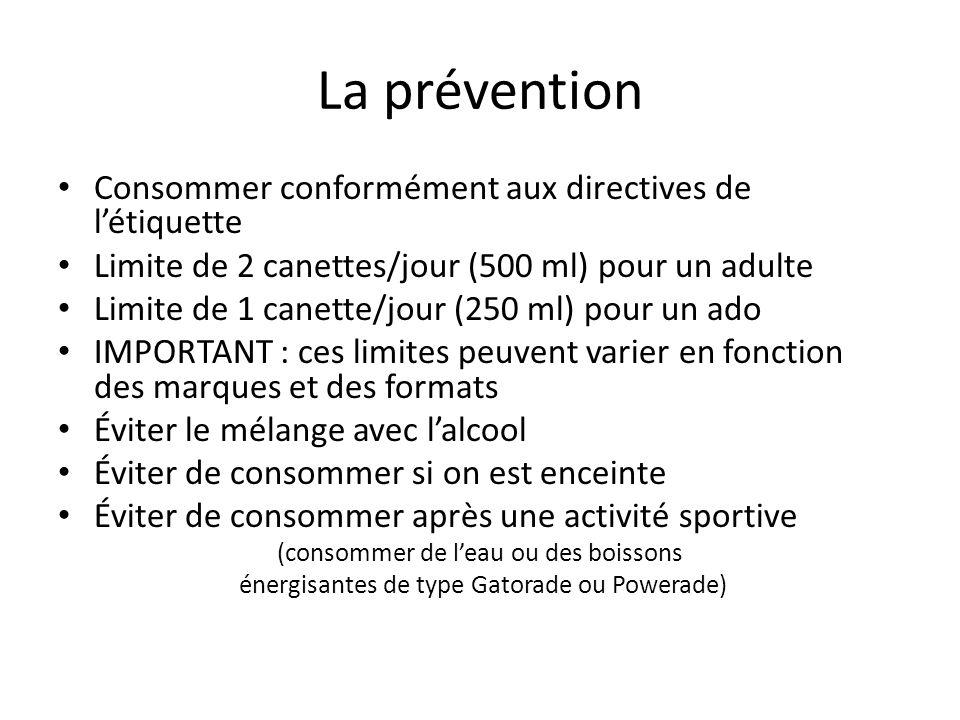 La prévention Consommer conformément aux directives de létiquette Limite de 2 canettes/jour (500 ml) pour un adulte Limite de 1 canette/jour (250 ml)