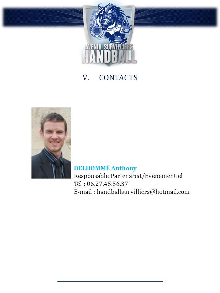 V.CONTACTS DELHOMMÉ Anthony Responsable Partenariat/Evénementiel Tél : 06.27.45.56.37 E-mail : handballsurvilliers@hotmail.com