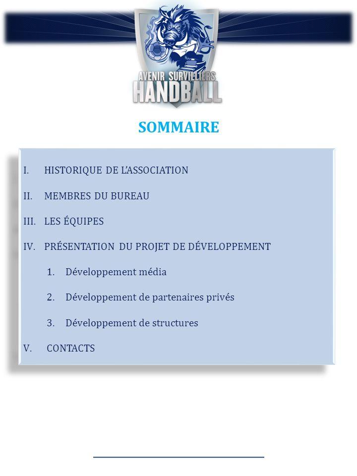 SOMMAIRE I.HISTORIQUE DE LASSOCIATION II.MEMBRES DU BUREAU III.LES ÉQUIPES IV.PRÉSENTATION DU PROJET DE DÉVELOPPEMENT 1.Développement média 2.Développement de partenaires privés 3.Développement de structures V.CONTACTS I.HISTORIQUE DE LASSOCIATION II.MEMBRES DU BUREAU III.LES ÉQUIPES IV.PRÉSENTATION DU PROJET DE DÉVELOPPEMENT 1.Développement média 2.Développement de partenaires privés 3.Développement de structures V.CONTACTS