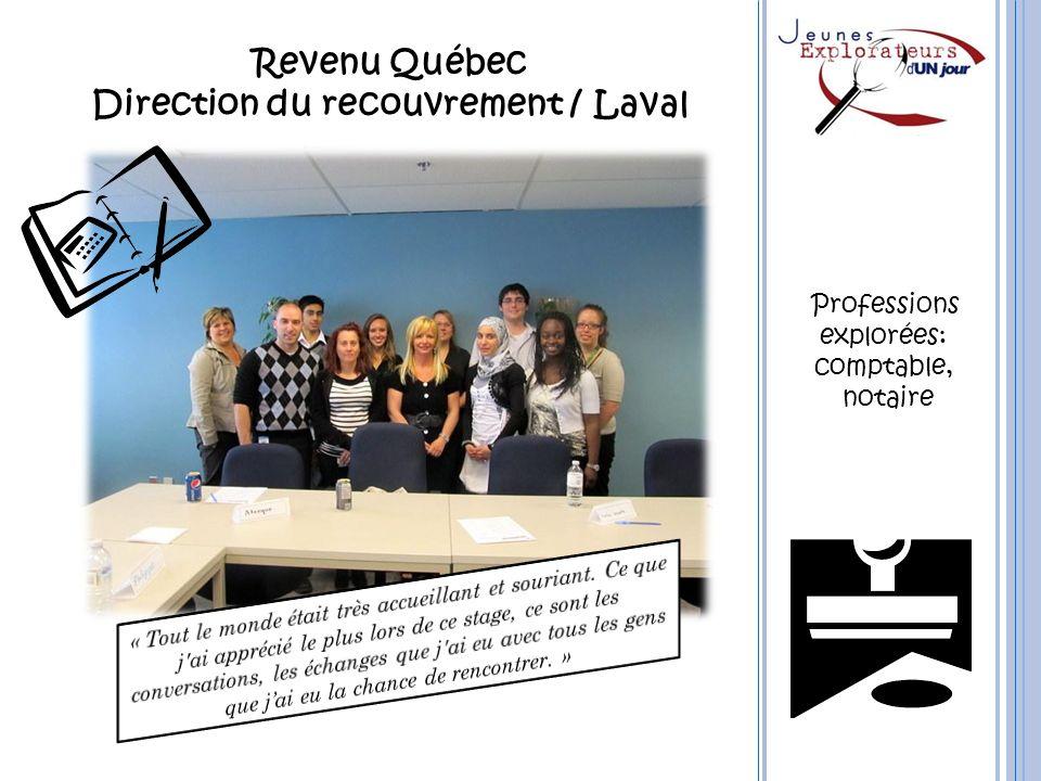 Revenu Québec Direction du recouvrement / Laval Professions explorées: comptable, notaire