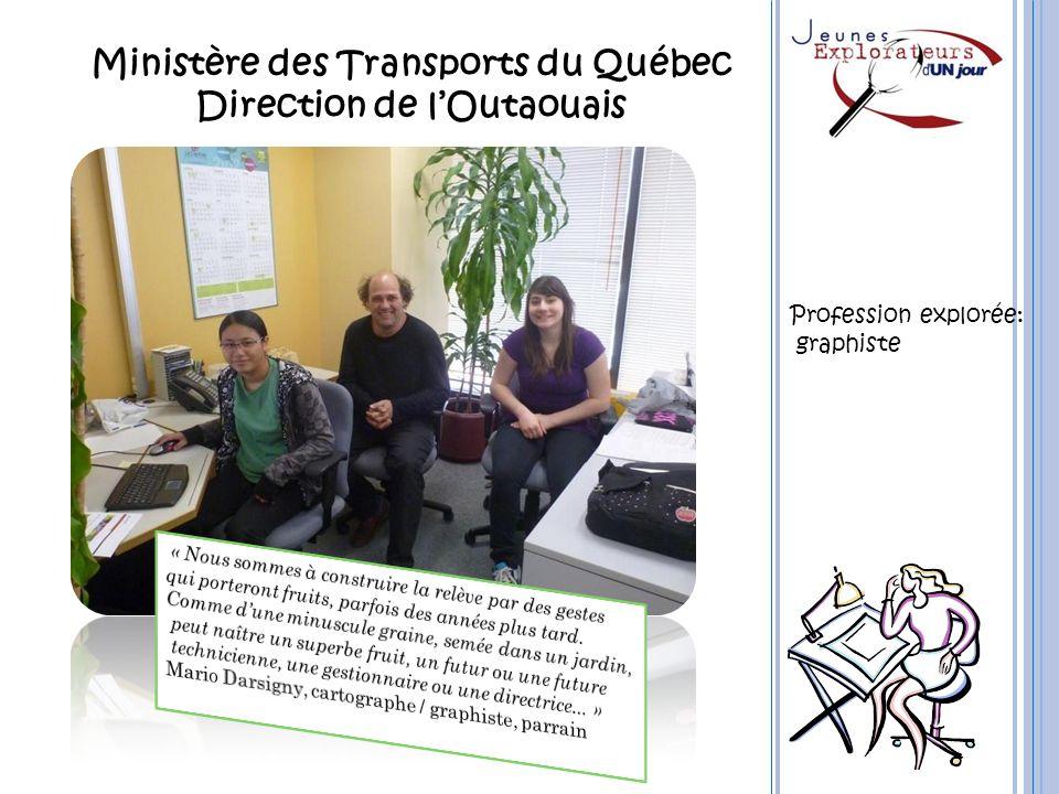 Ministère des Transports du Québec Direction de lOutaouais Profession explorée: graphiste