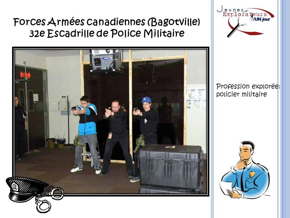 Forces Armées canadiennes (Bagotville) 32e Escadrille de Police Militaire Profession explorée: policier militaire