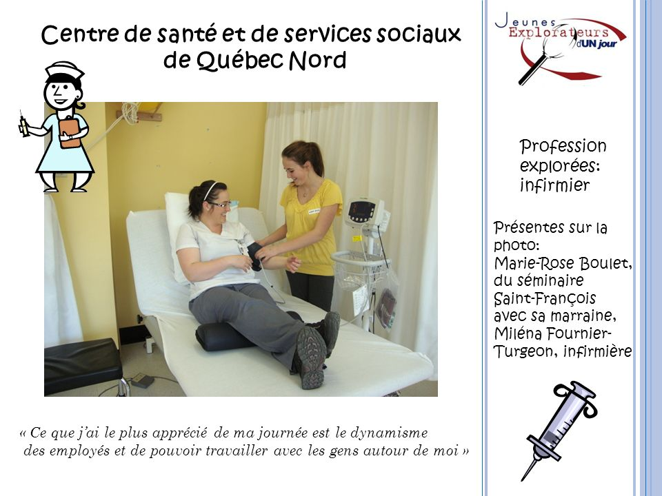 Centre de santé et de services sociaux de Québec Nord « Ce que jai le plus apprécié de ma journée est le dynamisme des employés et de pouvoir travaill
