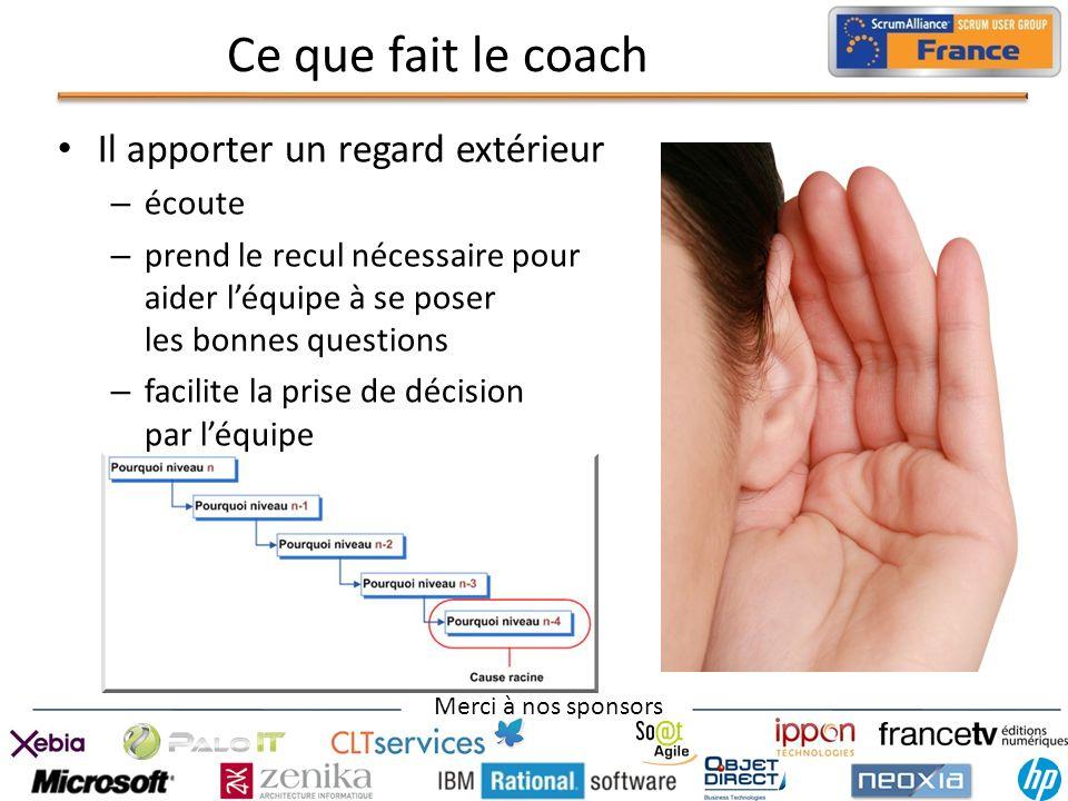 Merci à nos sponsors Ce que fait le coach Il apporter un regard extérieur – écoute – prend le recul nécessaire pour aider léquipe à se poser les bonne