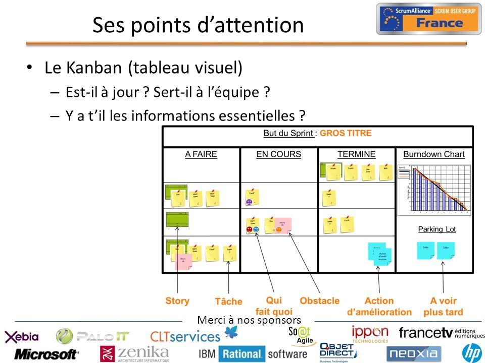 Merci à nos sponsors Ses points dattention Le Kanban (tableau visuel) – Est-il à jour ? Sert-il à léquipe ? – Y a til les informations essentielles ?
