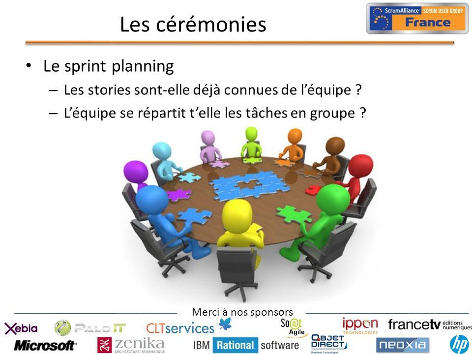 Merci à nos sponsors Les cérémonies Le sprint planning – Les stories sont-elle déjà connues de léquipe ? – Léquipe se répartit telle les tâches en gro