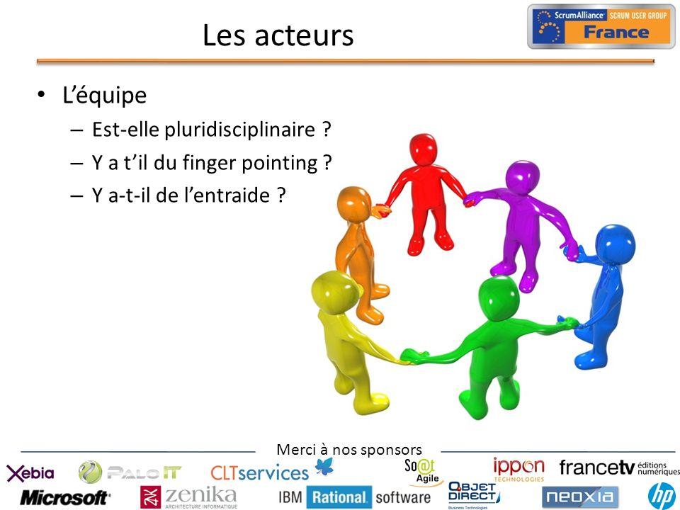 Merci à nos sponsors Les acteurs Léquipe – Est-elle pluridisciplinaire ? – Y a til du finger pointing ? – Y a-t-il de lentraide ?