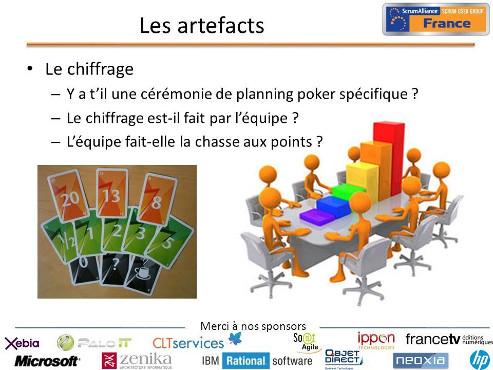 Merci à nos sponsors Les artefacts Le chiffrage – Y a til une cérémonie de planning poker spécifique ? – Le chiffrage est-il fait par léquipe ? – Léqu