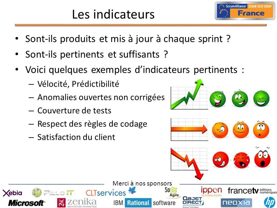 Merci à nos sponsors Les indicateurs Sont-ils produits et mis à jour à chaque sprint ? Sont-ils pertinents et suffisants ? Voici quelques exemples din