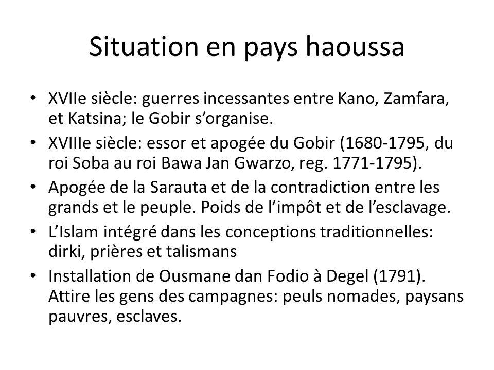 Situation en pays haoussa XVIIe siècle: guerres incessantes entre Kano, Zamfara, et Katsina; le Gobir sorganise. XVIIIe siècle: essor et apogée du Gob