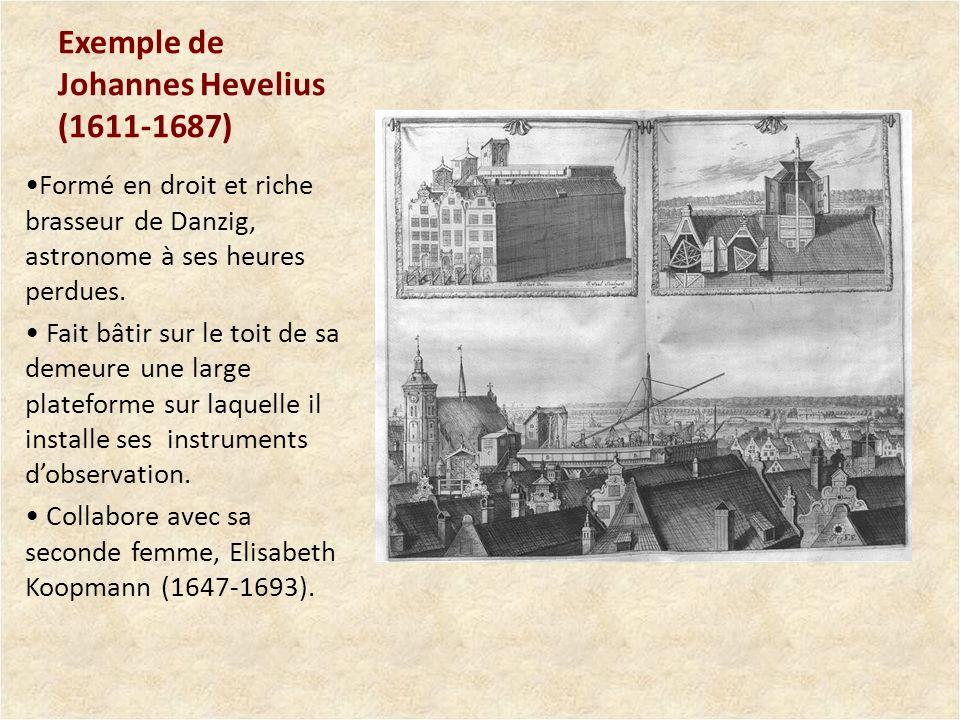Exemple de Johannes Hevelius (1611-1687) Formé en droit et riche brasseur de Danzig, astronome à ses heures perdues. Fait bâtir sur le toit de sa deme