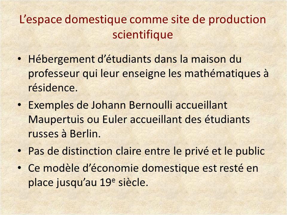 Lespace domestique comme site de production scientifique Hébergement détudiants dans la maison du professeur qui leur enseigne les mathématiques à rés