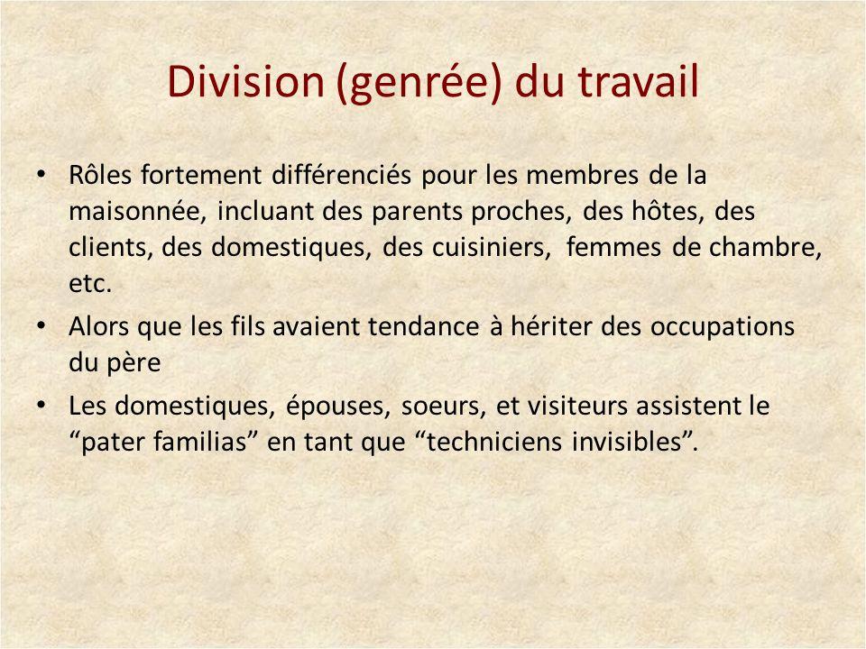 Division (genrée) du travail Rôles fortement différenciés pour les membres de la maisonnée, incluant des parents proches, des hôtes, des clients, des