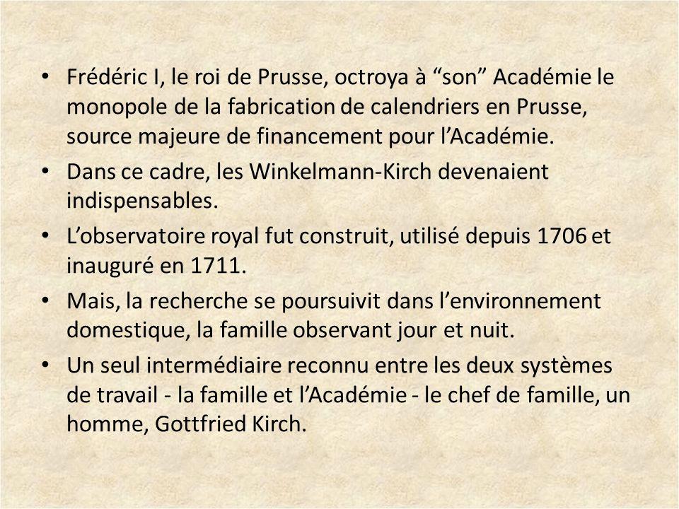 Frédéric I, le roi de Prusse, octroya à son Académie le monopole de la fabrication de calendriers en Prusse, source majeure de financement pour lAcadé