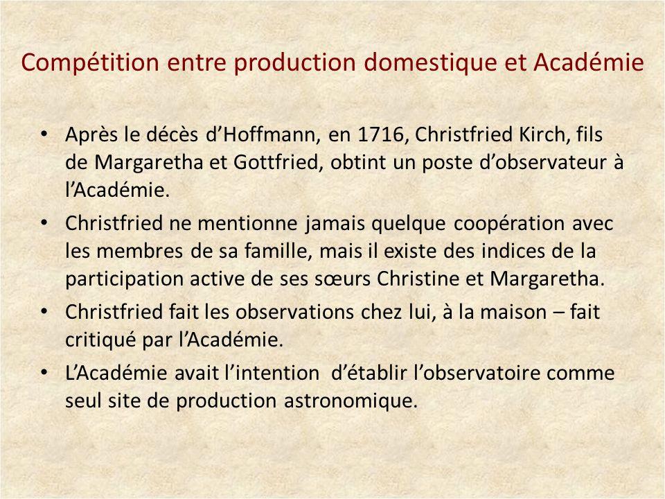 Compétition entre production domestique et Académie Après le décès dHoffmann, en 1716, Christfried Kirch, fils de Margaretha et Gottfried, obtint un p