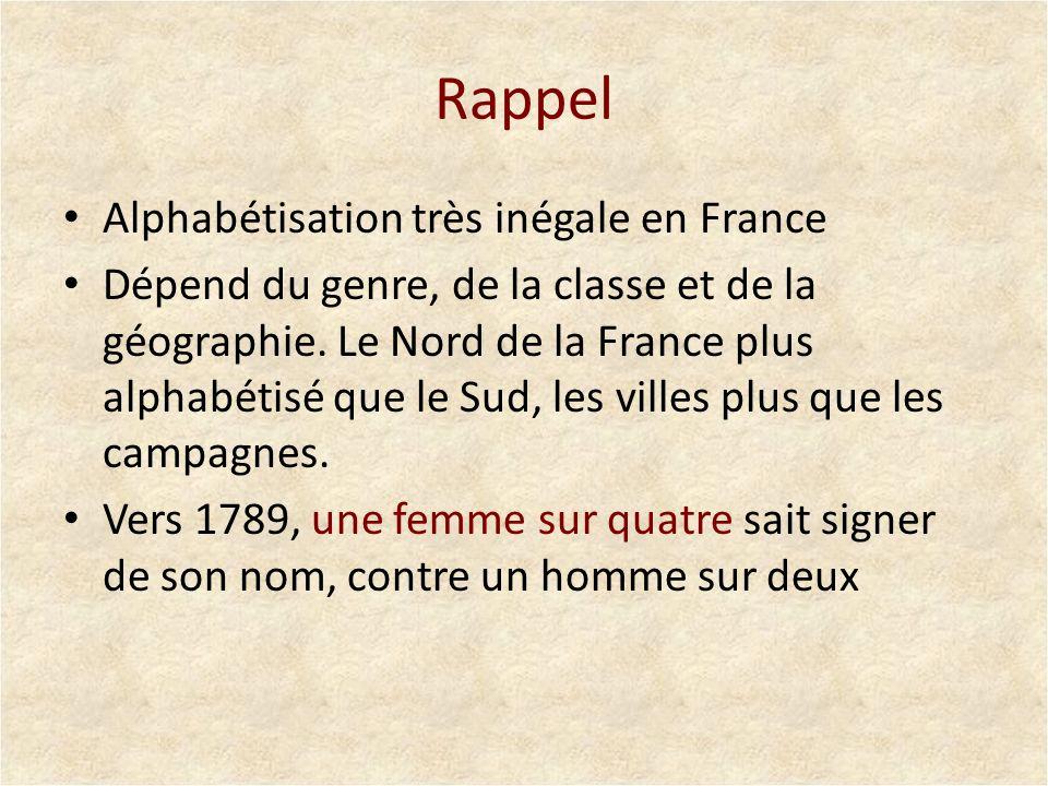 Rappel Alphabétisation très inégale en France Dépend du genre, de la classe et de la géographie. Le Nord de la France plus alphabétisé que le Sud, les