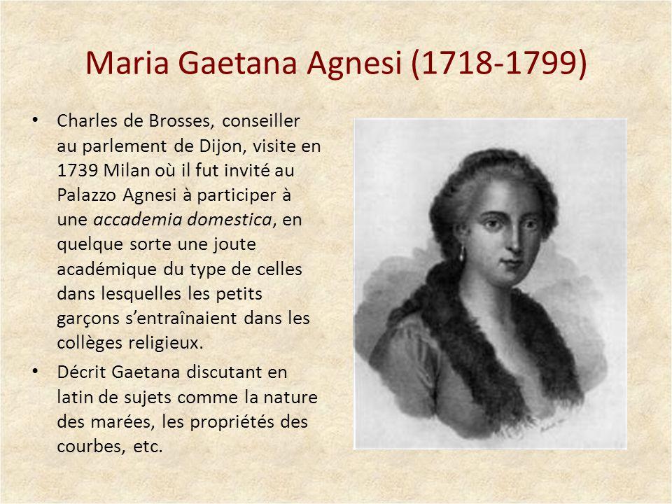 Un traité de calcul infinitésimal (1748) Agnesi fit imprimer le traité sur des presses installées exprès dans la maison de son père.