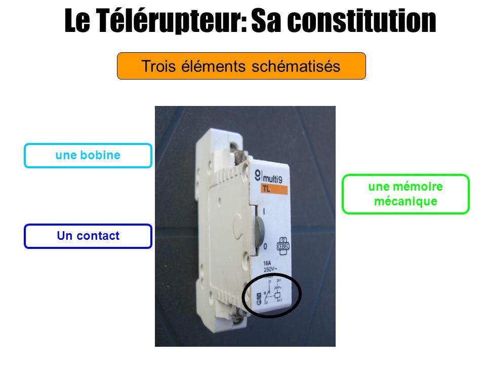 Trois éléments schématisés Le Télérupteur: Sa constitution Les deux bornes de la bobine Un bouton mécanique pour actionner le contact Les deux bornes du contact identifiés sur lappareil