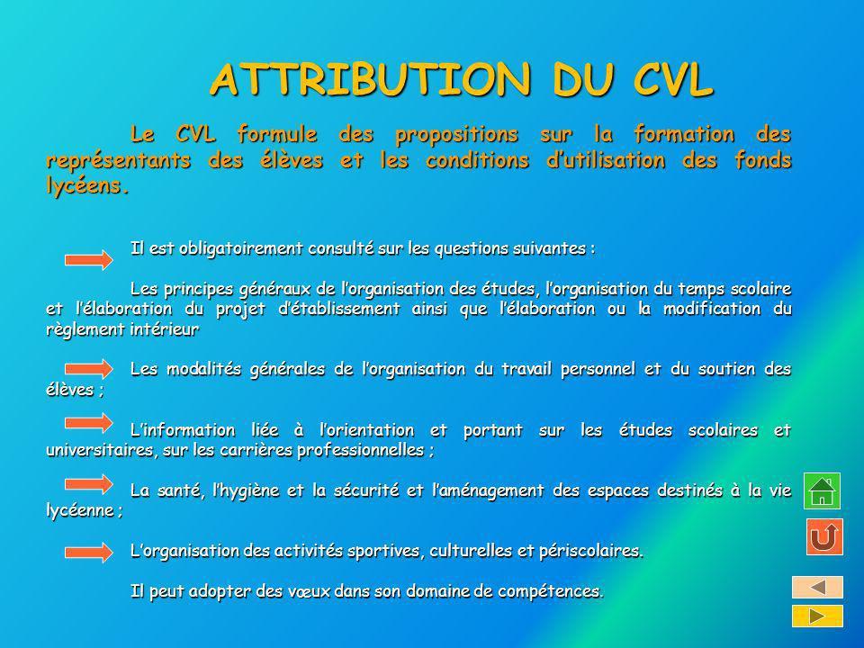 ATTRIBUTION DU CVL Le CVL formule des propositions sur la formation des représentants des élèves et les conditions dutilisation des fonds lycéens. Il