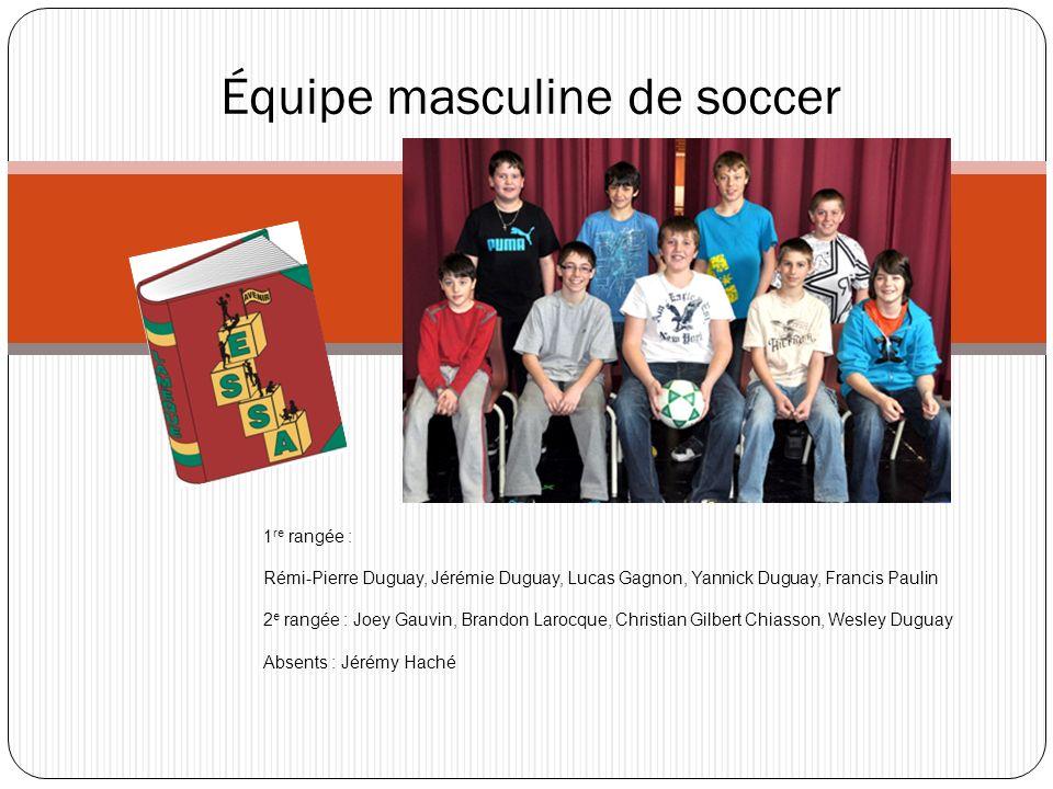 Équipe masculine de soccer 1 re rangée : Rémi-Pierre Duguay, Jérémie Duguay, Lucas Gagnon, Yannick Duguay, Francis Paulin 2 e rangée : Joey Gauvin, Br