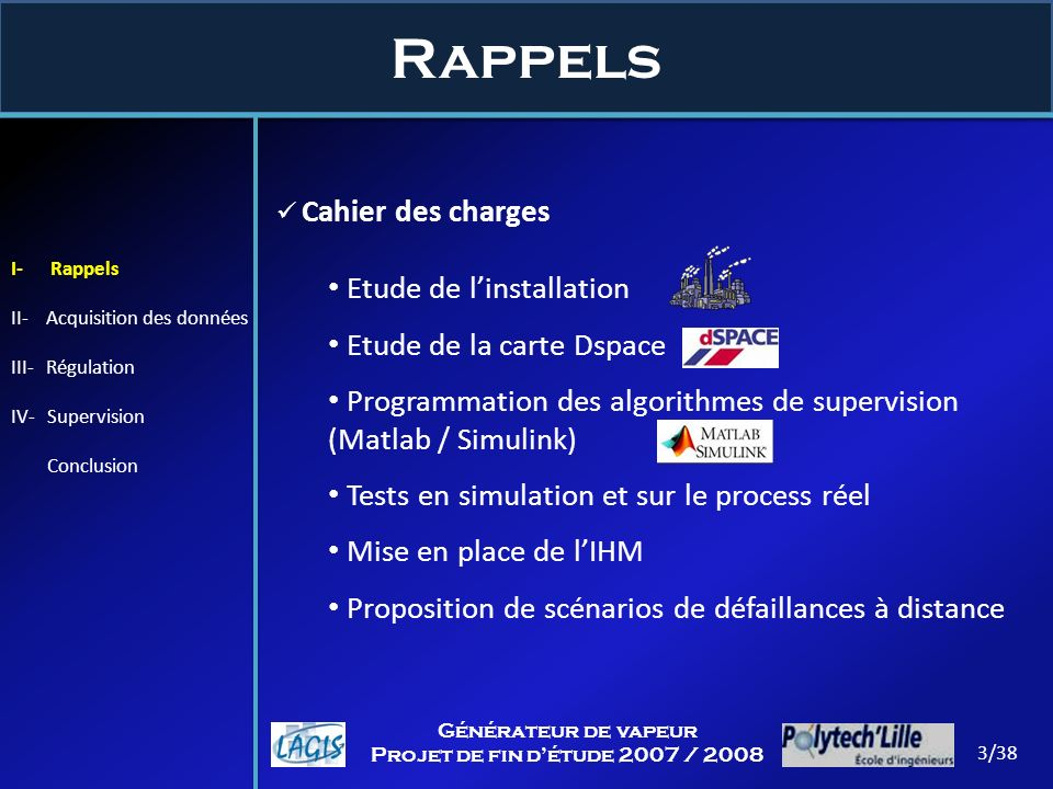 Rappels 3/38 Générateur de vapeur Projet de fin détude 2007 / 2008 Cahier des charges Etude de linstallation Etude de la carte Dspace Programmation de