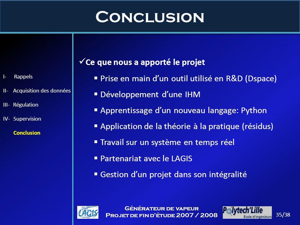 Conclusion I- Rappels II- Acquisition des données III- Régulation IV- Supervision Conclusion Ce que nous a apporté le projet Prise en main dun outil u