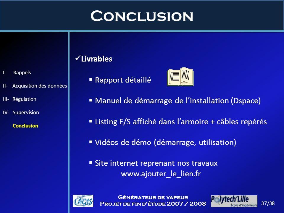 Livrables Rapport détaillé Manuel de démarrage de linstallation (Dspace) Listing E/S affiché dans larmoire + câbles repérés Vidéos de démo (démarrage,