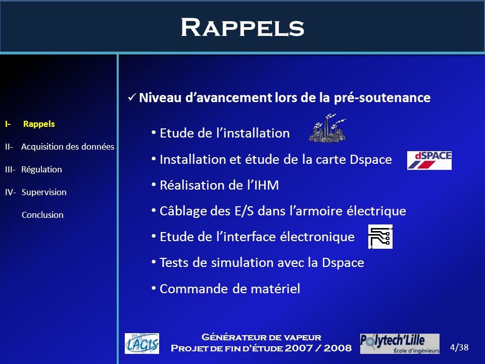 Rappels 4/38 Générateur de vapeur Projet de fin détude 2007 / 2008 I- Rappels II- Acquisition des données III- Régulation IV- Supervision Conclusion N