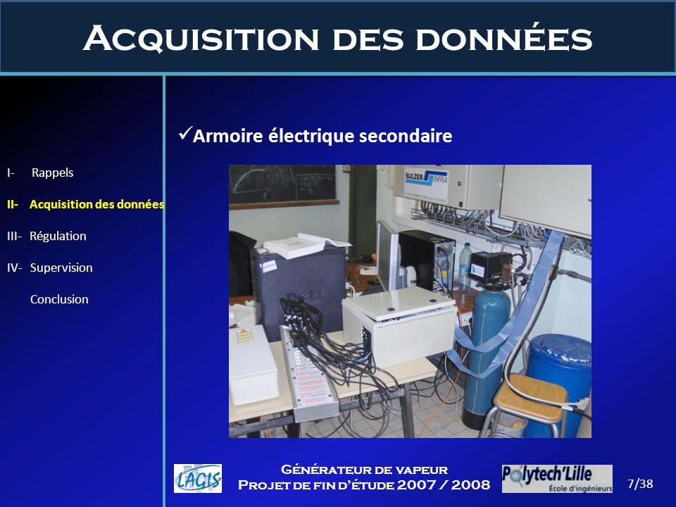 Acquisition des données 7/38 Générateur de vapeur Projet de fin détude 2007 / 2008 Armoire électrique secondaire I- Rappels II- Acquisition des donnée