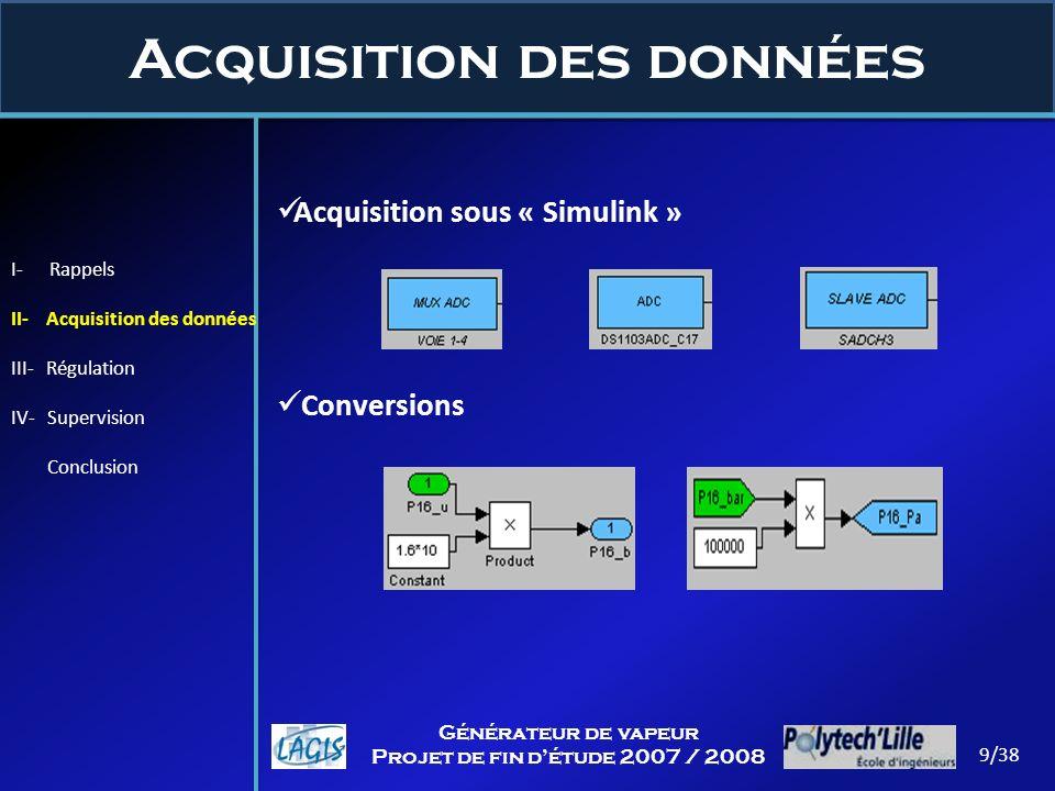 Acquisition des données 9/38 Générateur de vapeur Projet de fin détude 2007 / 2008 Acquisition sous « Simulink » Conversions I- Rappels II- Acquisitio