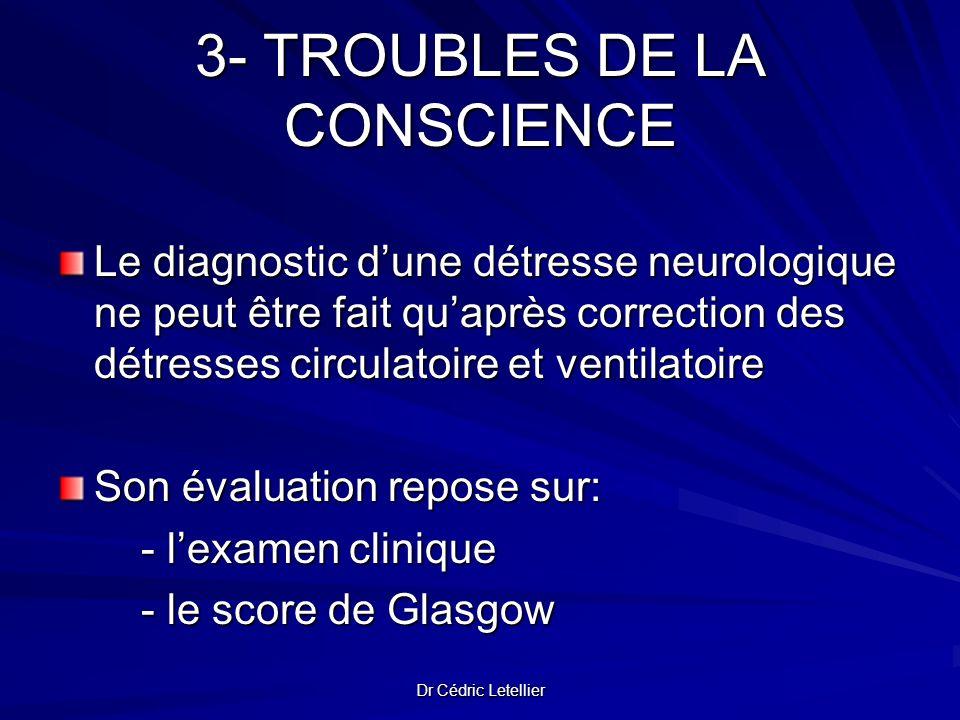 Dr Cédric Letellier 3- TROUBLES DE LA CONSCIENCE Le diagnostic dune détresse neurologique ne peut être fait quaprès correction des détresses circulato