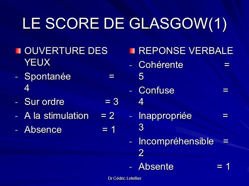Dr Cédric Letellier LE SCORE DE GLASGOW(1) OUVERTURE DES YEUX - Spontanée = 4 - Sur ordre = 3 - A la stimulation = 2 - Absence = 1 REPONSE VERBALE - C