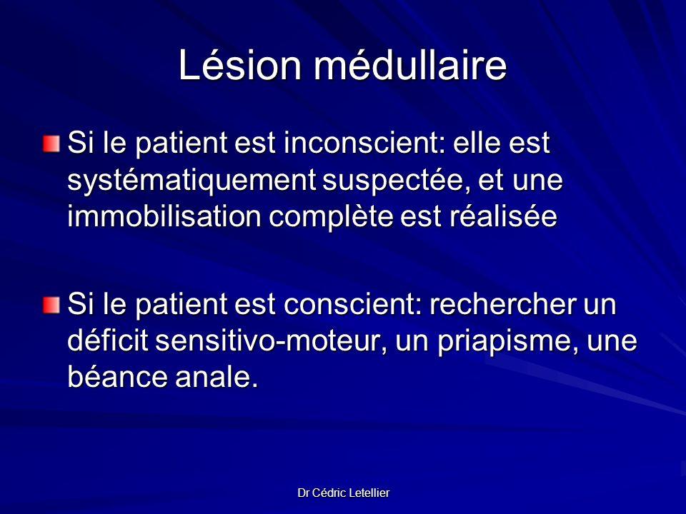 Dr Cédric Letellier Lésion médullaire Si le patient est inconscient: elle est systématiquement suspectée, et une immobilisation complète est réalisée