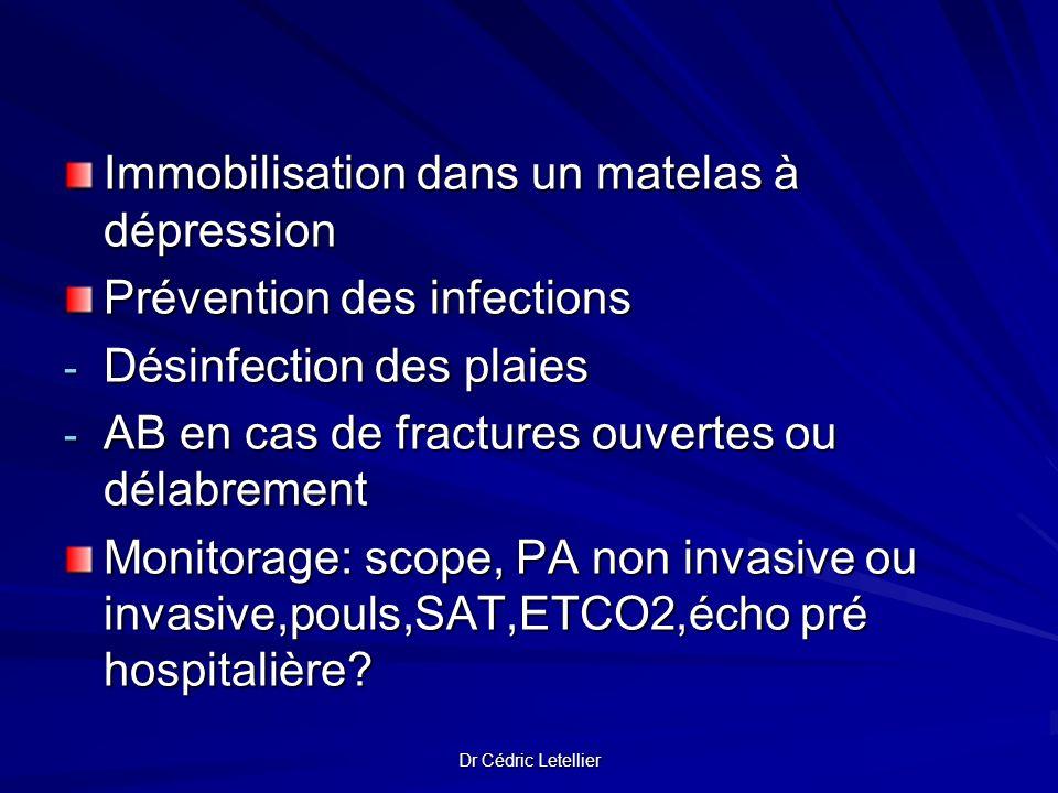 Dr Cédric Letellier Immobilisation dans un matelas à dépression Prévention des infections - Désinfection des plaies - AB en cas de fractures ouvertes
