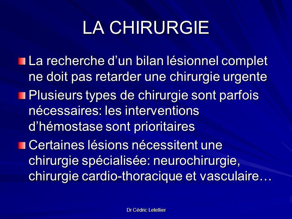 Dr Cédric Letellier LA CHIRURGIE La recherche dun bilan lésionnel complet ne doit pas retarder une chirurgie urgente Plusieurs types de chirurgie sont