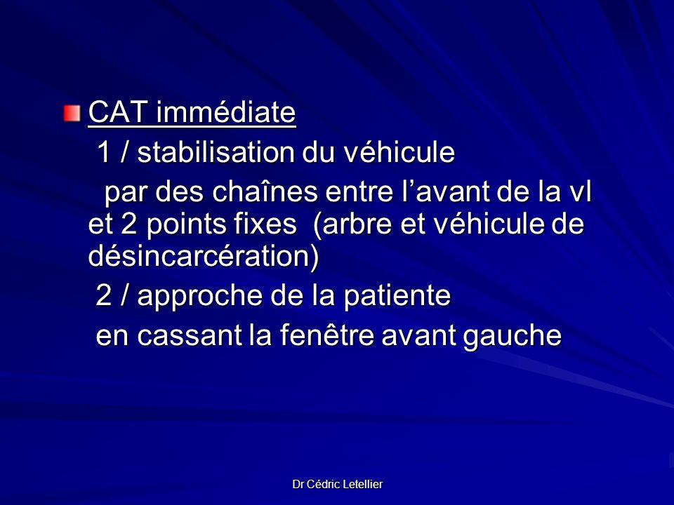 Dr Cédric Letellier CAT immédiate 1 / stabilisation du véhicule 1 / stabilisation du véhicule par des chaînes entre lavant de la vl et 2 points fixes